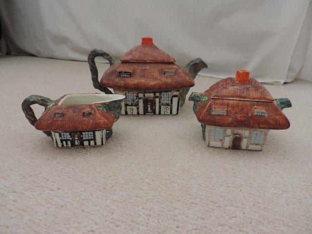 Preview of the first image of John Maddock & Sons, 'Thatched Cottage' Tea Set.