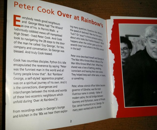 """Image 5 of *RARE* Peter Cook """"Over At Rainbows"""" Double CD As New"""