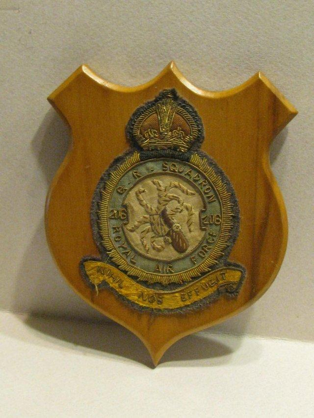 Preview of the first image of RAF 206 Squadron crest on wood mount.