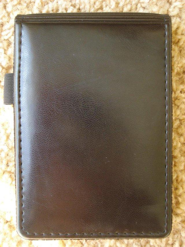 Image 2 of NEW  BLACK LEATHER LOOK NOTEPAD HOLDER WITH PEN HOLDER