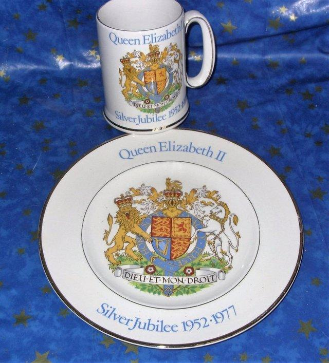 Preview of the first image of Queen Elizabeth II Silver Jubilee Tankard mug matching Plate.
