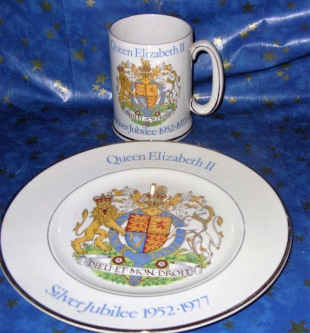 Image 2 of Queen Elizabeth II Silver Jubilee Tankard mug matching Plate