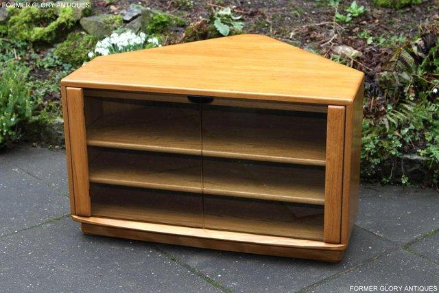 Image 2 of ERCOL WINDSOR LIGHT ELM CORNER TV CABINET STAND TABLE UNIT