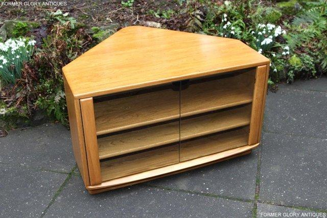 Image 3 of ERCOL WINDSOR LIGHT ELM CORNER TV CABINET STAND TABLE UNIT