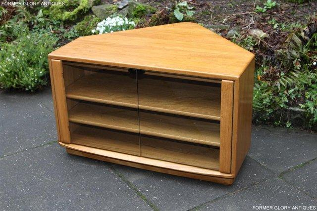 Image 11 of ERCOL WINDSOR LIGHT ELM CORNER TV CABINET STAND TABLE UNIT