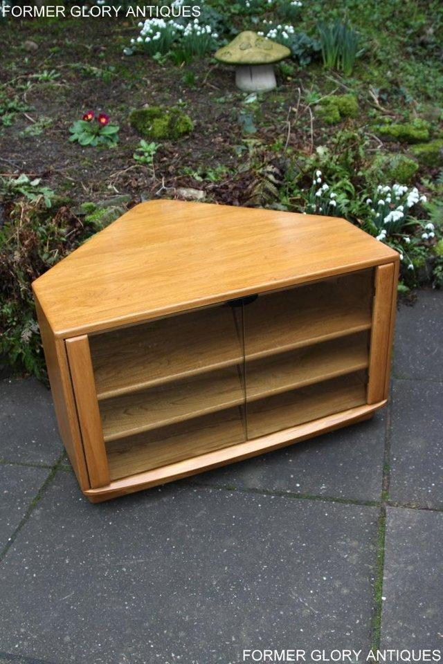 Image 13 of ERCOL WINDSOR LIGHT ELM CORNER TV CABINET STAND TABLE UNIT