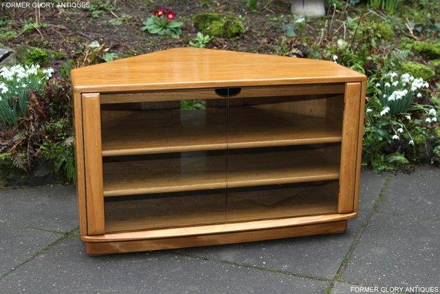 Image 21 of ERCOL WINDSOR LIGHT ELM CORNER TV CABINET STAND TABLE UNIT