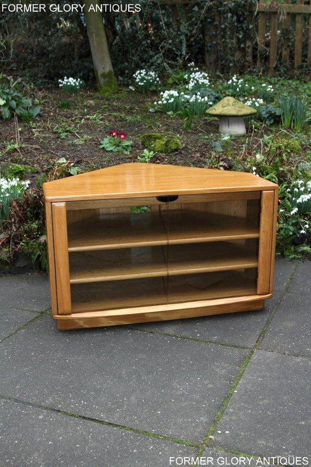 Image 33 of ERCOL WINDSOR LIGHT ELM CORNER TV CABINET STAND TABLE UNIT