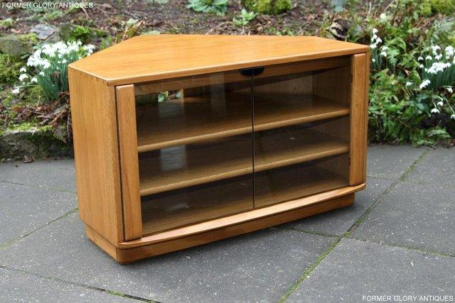 Image 59 of ERCOL WINDSOR LIGHT ELM CORNER TV CABINET STAND TABLE UNIT