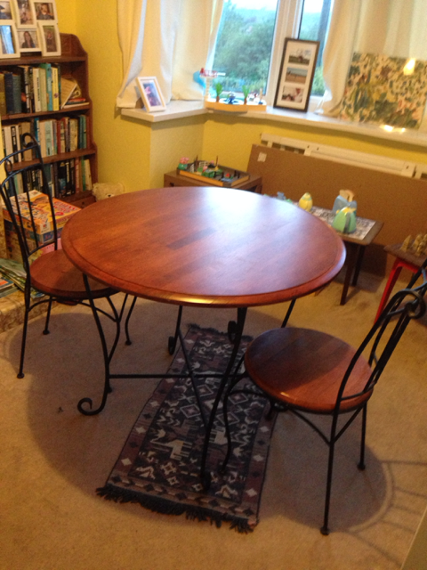 Beautiful Solid Wood Dining Table And Chairs In Excellent Condition As Always Used With Protective Cover Under Cloth Dismantled At The Moment So Easy To