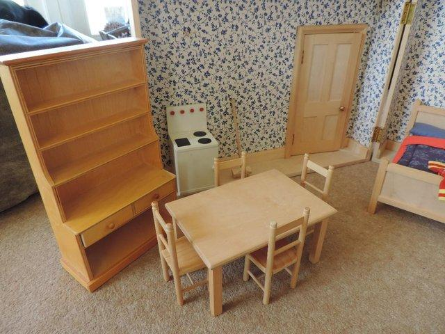 Image 4 of Dolls wooden fold out room from 'Tridias' circa 1970's