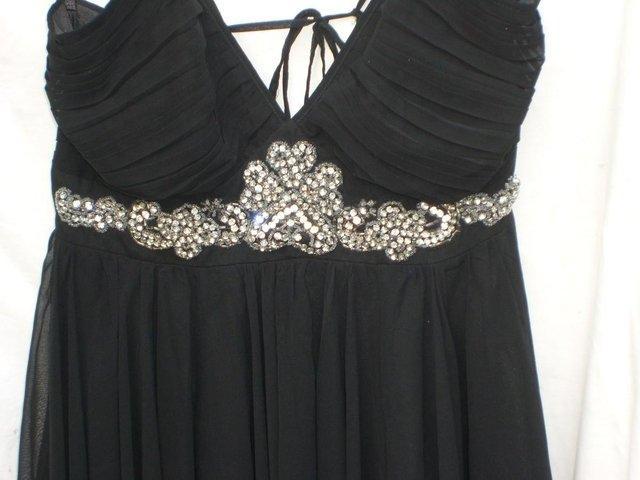 Image 2 of RARE LONDON Black Chiffon Mini Dress - Size 12
