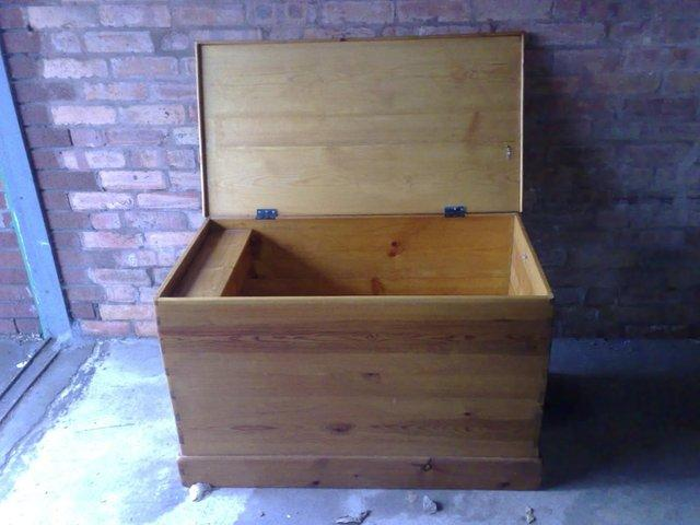 Preview of the first image of Large Solid Pine Blanket Box / Ottoman.