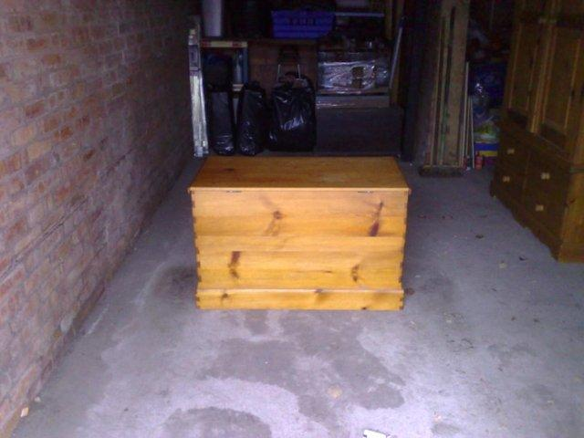 Image 2 of Large Solid Pine Blanket Box / Ottoman