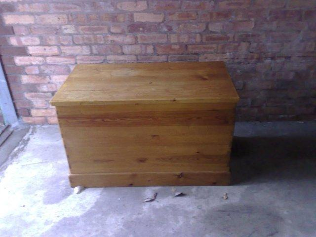 Image 3 of Large Solid Pine Blanket Box / Ottoman