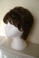 Preview of the first image of LADIES SHORT BRUNETTE DARK BROWN LAYERED LACE CAP WIG.