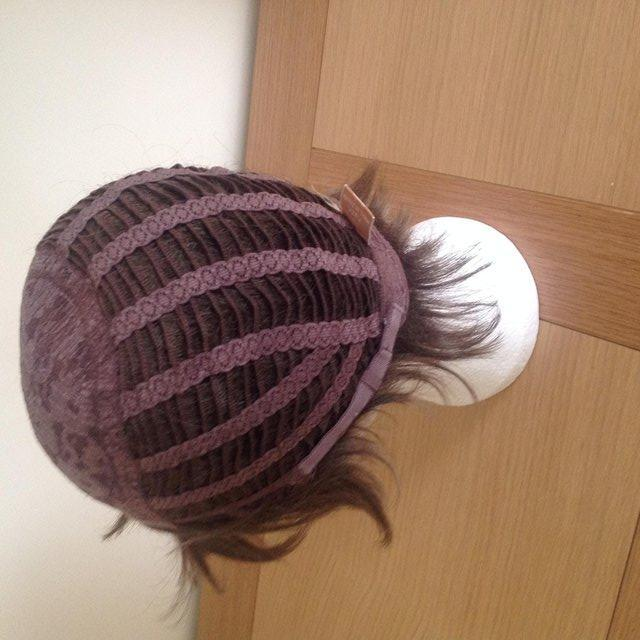 Image 3 of LADIES SHORT BRUNETTE DARK BROWN LAYERED LACE CAP WIG