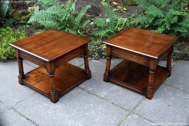 Image 4 of 2 TITCHMARSH & GOODWIN OAK COFFEE PHONE LAMP ARMCHAIR TABLES