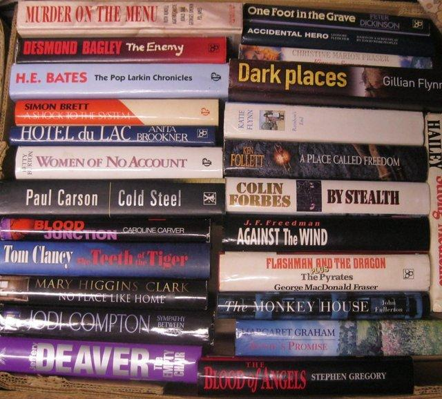 Preview of the first image of Hardback books £1 each, mainly fiction..