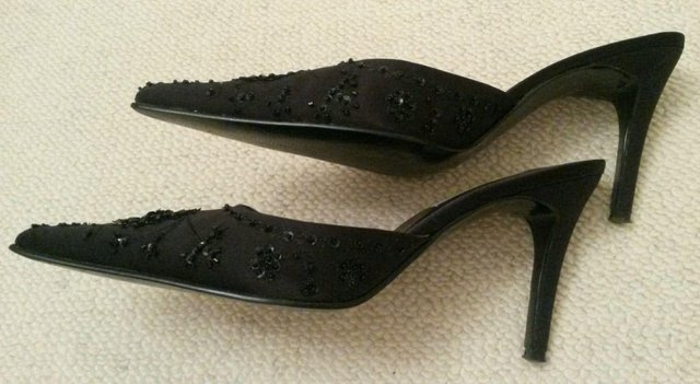 Image 3 of NEW DUNE Black Shoes Mule Diamante Bead Sequin Size 41