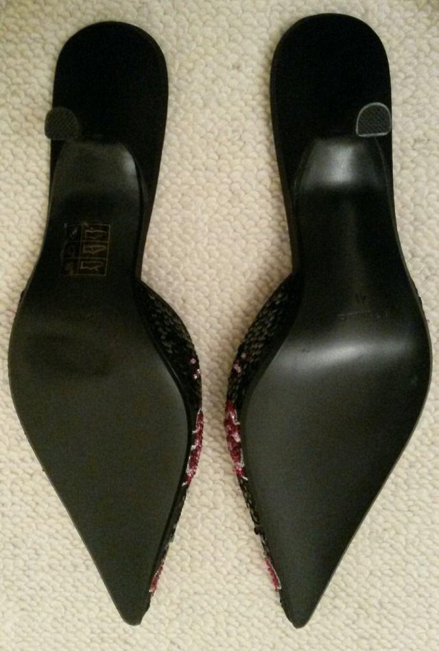 Image 2 of NEW DUNE Shoes Mule Black Red Green Beads Sequin 41