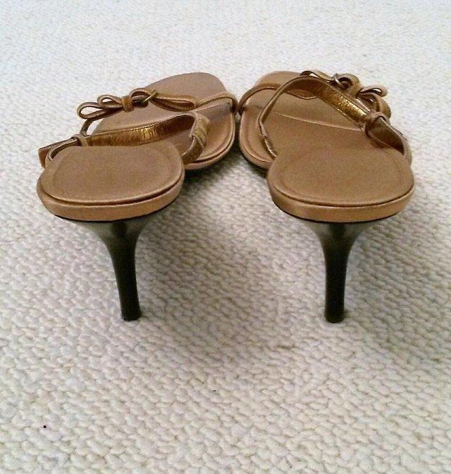 Image 2 of BALLY Gold Strappy Sandals Velvet Ribbon Bow & Satin Lining