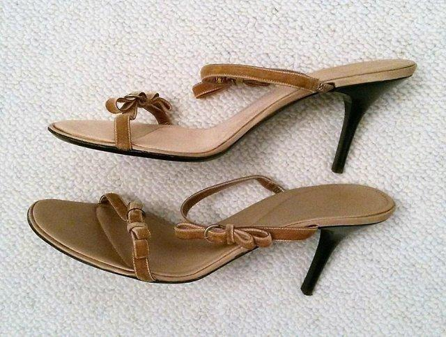 Image 3 of BALLY Gold Strappy Sandals Velvet Ribbon Bow & Satin Lining