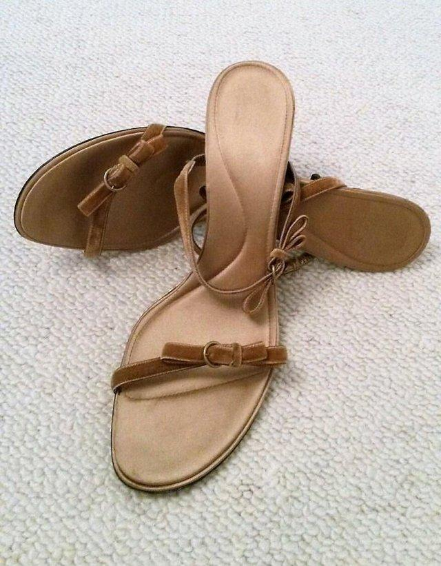 Preview of the first image of BALLY Gold Strappy Sandals Velvet Ribbon Bow & Satin Lining.