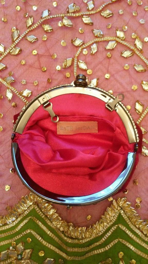 Image 3 of NEW BETH JORDAN BAG Clutch Purse Red Velvet Diamante