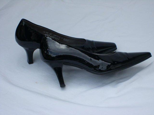GABOR Black Patent Leather Court Shoes