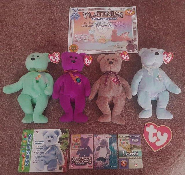 1e898d636da 4 Collectable Beanie Babies And Official Club Carry case