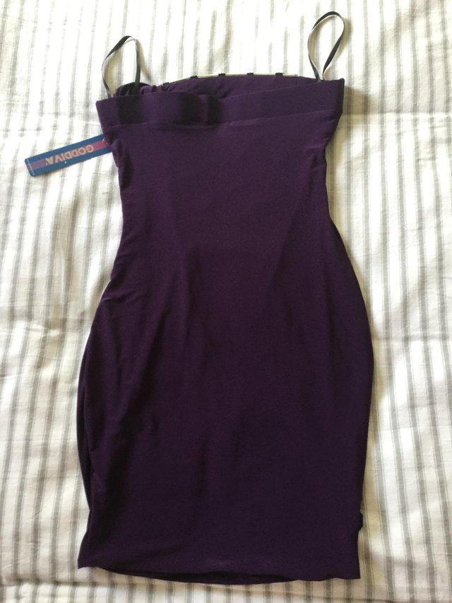 Image 8 of BNWT Striking Glossy Purple Stretch GODIVA Strapless Dress S