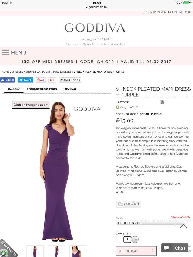 Image 9 of BNWT Striking Glossy Purple Stretch GODIVA Strapless Dress S