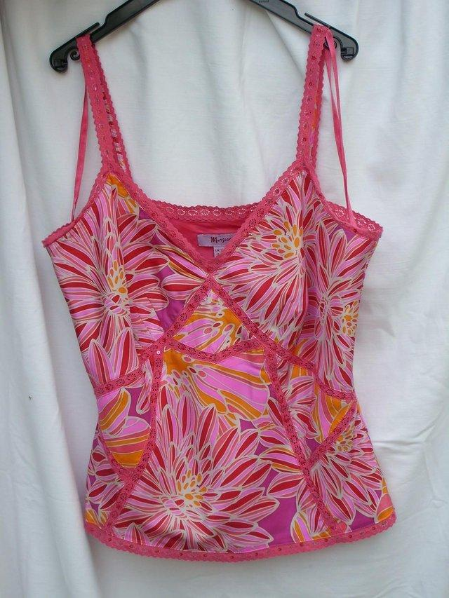 3ec782fd74 MONSOON pink and orange print silk top with lace and bead detailing.  Fabulous silk vest top with side zip