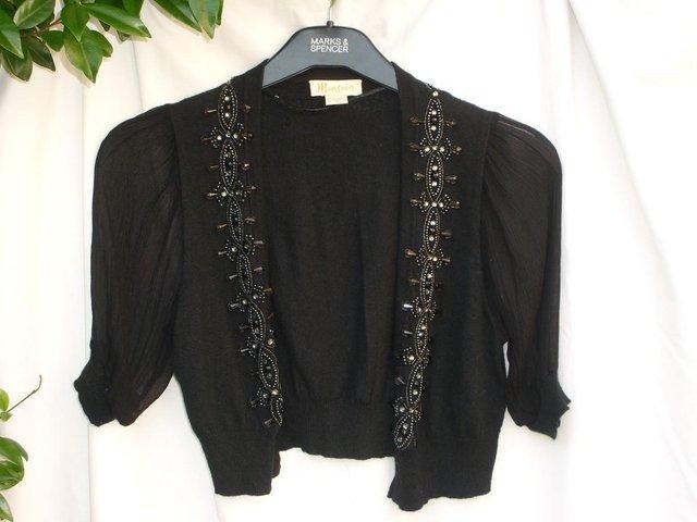 e2a187a1b2 MONSOON Black Beaded Bolero Top –Size 12 For Sale in ...