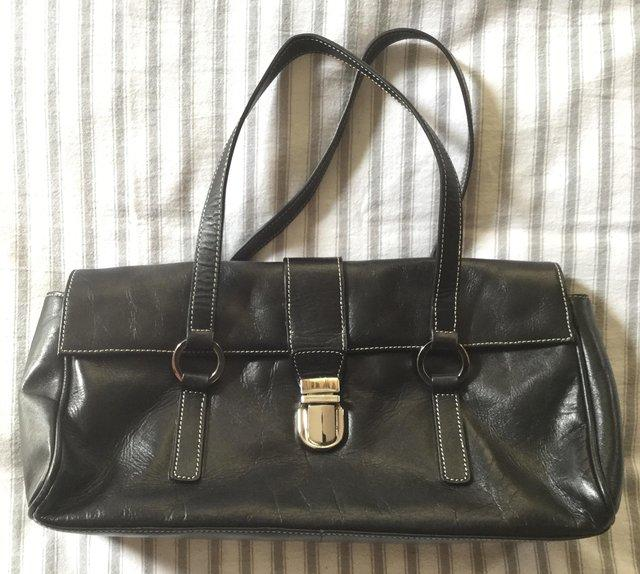 JANE SHILTON Jet Black Leather Grab Bag 48bccd7272203