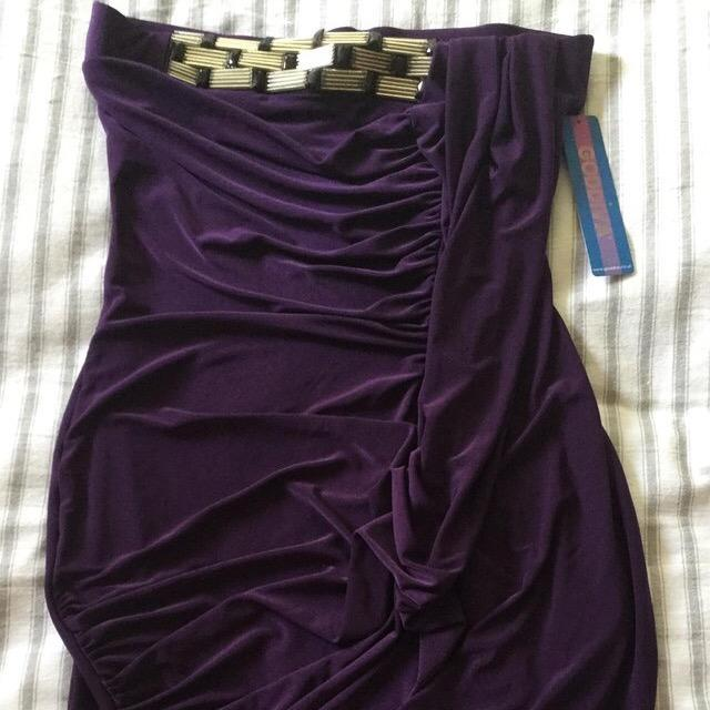 Image 10 of BNWT Striking Glossy Purple Stretch GODIVA Strapless Dress S