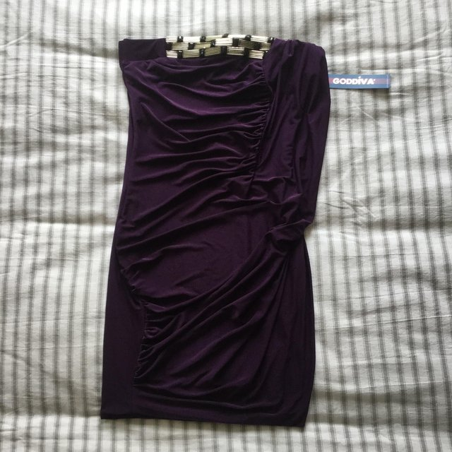 Preview of the first image of BNWT Striking Glossy Purple Stretch GODIVA Strapless Dress S.
