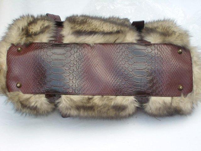 Image 2 of DENTS Brown Faux Furry Shoulder Handbag