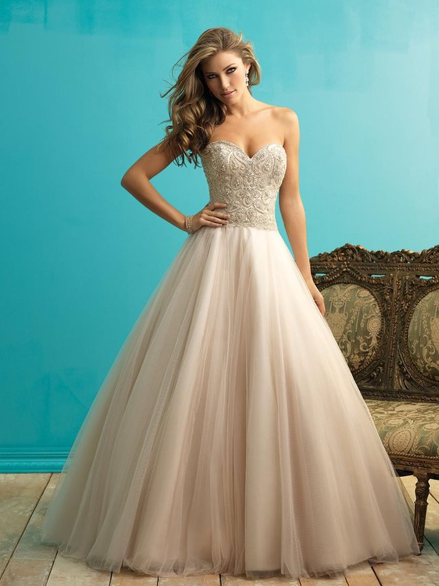 Preview of the first image of Allure 9262 champagne wedding dress size 14.