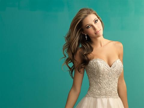 Image 3 of Allure 9262 champagne wedding dress size 14