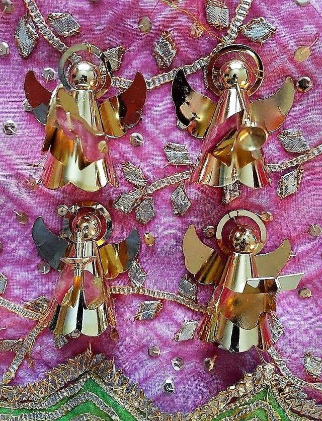 Preview of the first image of CHRISTMAS ANGELS Set 4 Gold Musical Instruments Gold Metal.