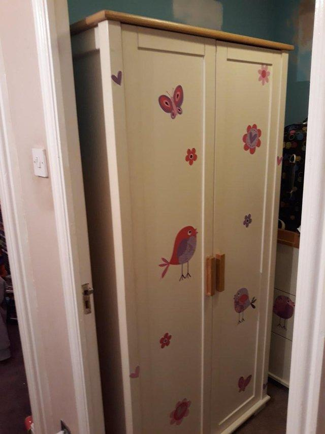 1 X 3 Drawer Changing Unit1 Wardrobe With Shelve And Clothes Rackthey Are In Used Condition Couple Of Marks Stickers That Have Been Added