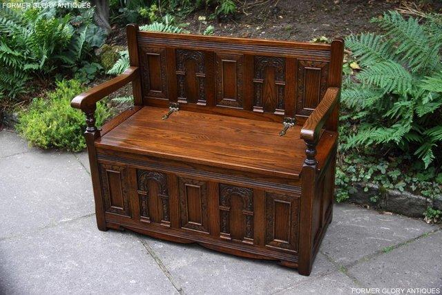 Image 2 of OLD CHARM LIGHT OAK HALL SEAT BOX SETTLE MONKS BENCH CHEST