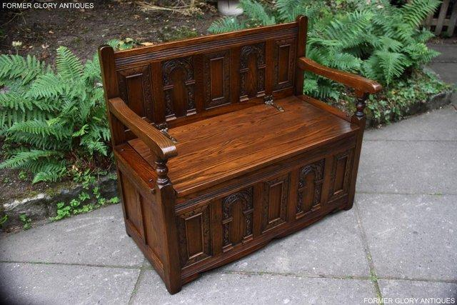 Image 3 of OLD CHARM LIGHT OAK HALL SEAT BOX SETTLE MONKS BENCH CHEST