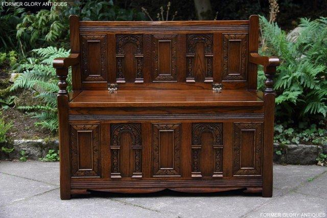 Image 5 of OLD CHARM LIGHT OAK HALL SEAT BOX SETTLE MONKS BENCH CHEST