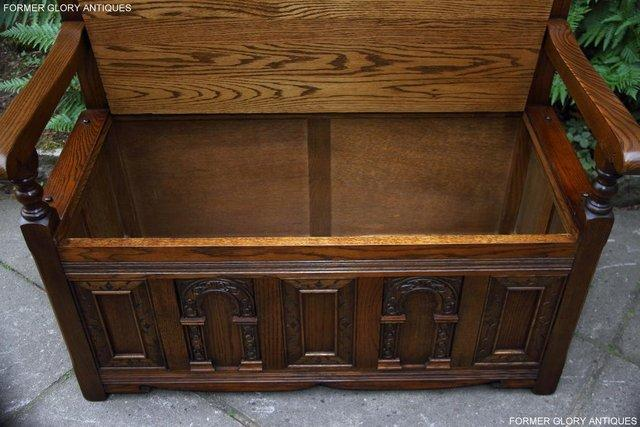 Image 6 of OLD CHARM LIGHT OAK HALL SEAT BOX SETTLE MONKS BENCH CHEST