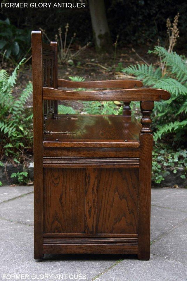 Image 10 of OLD CHARM LIGHT OAK HALL SEAT BOX SETTLE MONKS BENCH CHEST