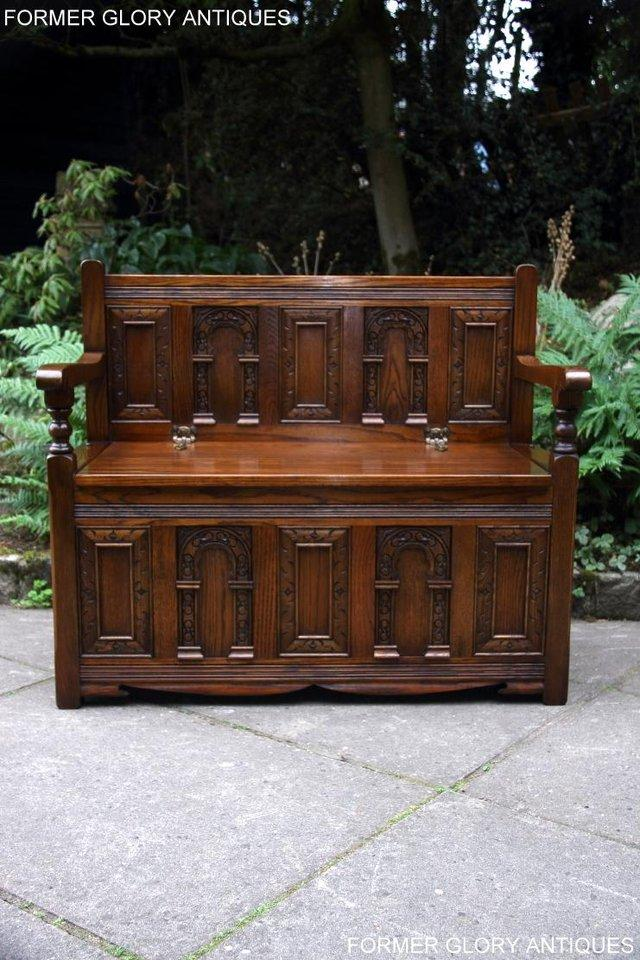 Image 11 of OLD CHARM LIGHT OAK HALL SEAT BOX SETTLE MONKS BENCH CHEST