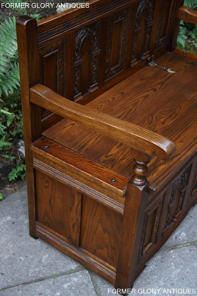 Image 16 of OLD CHARM LIGHT OAK HALL SEAT BOX SETTLE MONKS BENCH CHEST